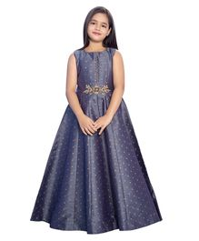 Betty By Tiny Kingdom Sleeveless Flower Embroiderd Long Gown - Blue