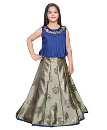Betty By Tiny Kingdom Sleeveless Flower Design Foil Printed Long Gown - Blue