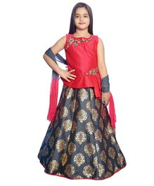 Betty By Tiny Kingdom Sleeveless Floral Embroidered Choli & Lehenga With Dupatta Set - Dark Pink