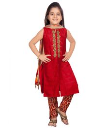 Betty By Tiny Kingdom Sleeveless Embroidered Kurti & Churidar Set With Dupatta - Red