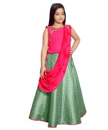 Betty By Tiny Kingdom Sleeveless Flower Embroidered Choli & Lehenga With Dupatta Set - Pink
