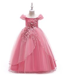 Pre Order - Awabox Flower Applique Gown - Pink