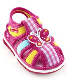 Cute Walk By Babyhug Sandals Butterfly Patch - Fuchsia Pink