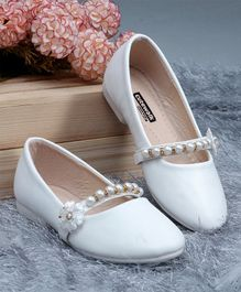 Cute Walk By Babyhug Party Wear Bellies With Pearl Embellishment - White
