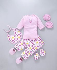 Montaly Baby Clothing Gift Set Bear Print Pink - 7 Pieces