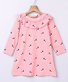 Beebay Full Sleeves Neck Frilled Dog Printed Dress - Pink