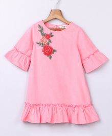 Beebay Three - Fourth Sleeves Rose Embroidered Dress - Pink