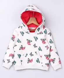 Beebay Full Sleeves Butterfly Printed Hoodie - White