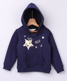 Beebay Full Sleeves Star Design Hoodie - Navy Blue