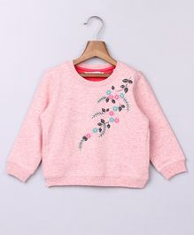 Beebay Full Sleeves Floral Embroidered Sweatshirt - Pink