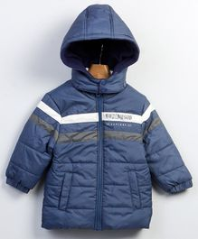 Beebay Full Sleeves Dual Striped Hooded Jacket - Navy Blue