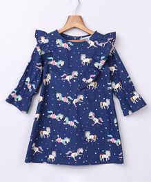 Beebay Full Sleeves Unicorn Printed Dress - Navy Blue