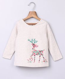 Beebay Full Sleeves Reindeer Embroidered Top - Off White