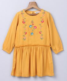Beebay Full Sleeves Floral Embroidered Dress - Yellow