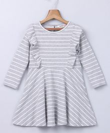 Beebay Striped Full Sleeves Dress - Grey