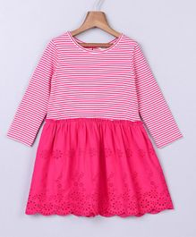 Beebay Striped Full Sleeves Dress - Pink