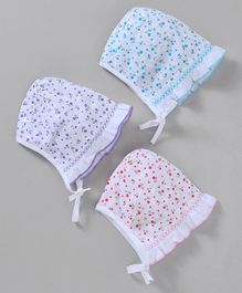 Babyhug Bonnet Cap Flower Print Pack of 3 - Blue Pink Purple