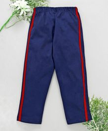 Babyhug Full Length Solid Cotton Track Pant - Navy Blue