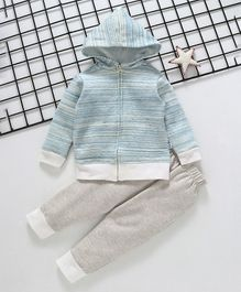 Cuddledoo Full Sleeves Hooded Jacket & Bottom Set - Blue