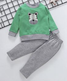 Cuddledoo Animal Design Full Sleeves Sweatshirt & Bottom Set - Green & Grey