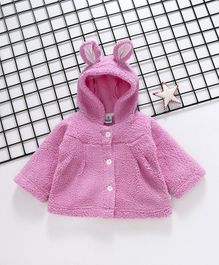 Cuddledoo Solid Full Sleeves Hooded Jacket - Pink