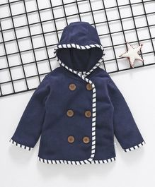 Cuddledoo Solid Full Sleeves Hooded Coat - Navy Blue