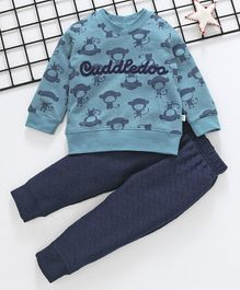 Cuddledoo Monkey Printed Full Sleeves Sweatshirt & Bottom Set - Blue