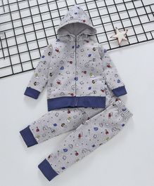 Cuddledoo Saturn & Dinosaur Printed Hooded Jacket & Bottom Set - Navy Blue
