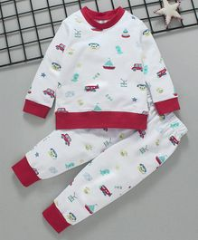 Cuddledoo Car & Telephone Printed Full Sleeves Sweatshirt & Bottom Set - White & Maroon