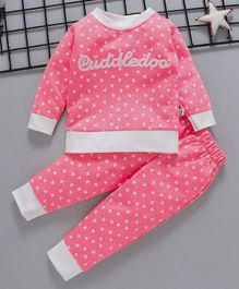 Cuddledoo Heart Printed Full Sleeves Sweatshirt & Bottom Set - Pink