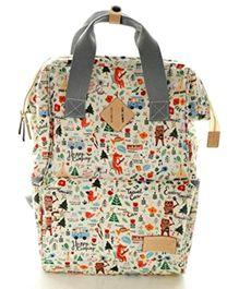 Vismiintrend Waterproof Diaper Bag With Insulated Pockets Printed - Cream