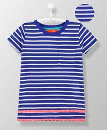 Cherry Crumble California Striped Short Sleeves Tee - Blue