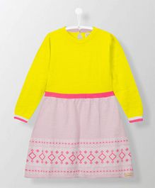 Cherry Crumble California Long Sleeves Knitted Dress - Yellow