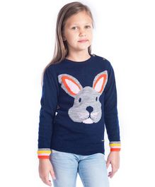 Cherry Crumble California Full Sleeves Sweater Bunny Design - Navy Blue