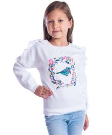 Cherry Crumble California Full Sleeves Ruffled Winter Wear Top Birdie Print - White