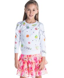 Cherry Crumble California Full Sleeves Ruffled Winter Wear Top Floral Print - White