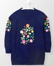 Cherry Crumble California Winter Wear Floral Embroidery Tunic Top - Navy