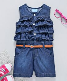 Chicklets Ruffle Sleeveless Jumpsuit - Blue