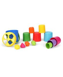 Bkids Shape Sorting Stack N' Nest Buckets - Multicolour