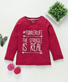 Babyhug Full Sleeve Tee Quote Print - Red