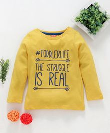 Babyhug Full Sleeve Tee Quote Print - Yellow