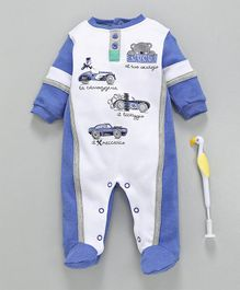 Cucumber Full Sleeves Footed Romper Car Print - Blue