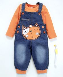 Cucumber Denim Dungaree With Full Sleeves Tee Kitty Patch - Blue Orange