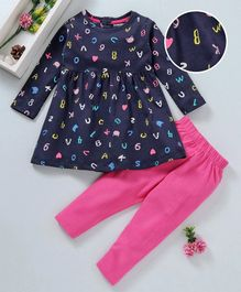 Cucumber Full Sleeves Frock And Leggings Alphabet & Number Print - Navy Blue Pink