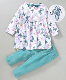 Cucumber Full Sleeves Frock And Leggings Butterfly Print - White Sea Green