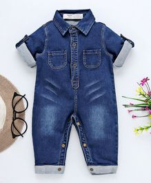 Happiness Solid Full Sleeves Romper - Blue
