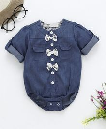 Happiness Bow Applique Full Sleeves Onesie - Blue