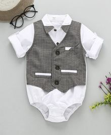 Happiness Houndstooth Print Full Sleeves Onesie With Bow - White & Light Grey