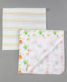 Owen Receiving Cotton Blankets Multi Design Pack of 2 - Multicolour