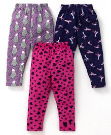 Cucumber Full Length Printed Leggings Pack of 3 - Blue Pink Purple